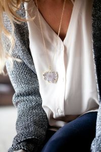white button up with sweater
