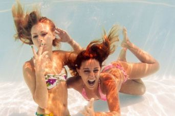 best friends underwater pool picture