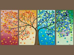 tree painting on multiple canvases